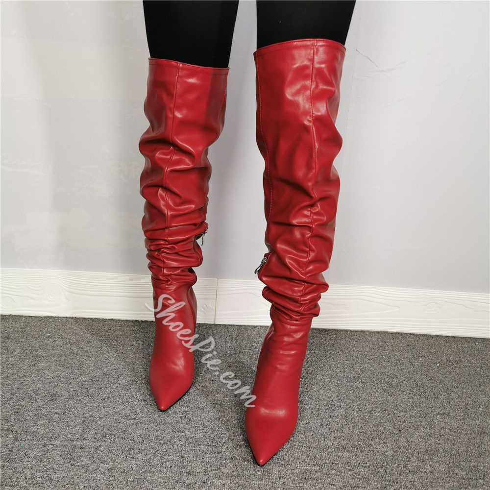 Shoespie Stylish Red Pointed Toe Side Zipper Knee High Boots