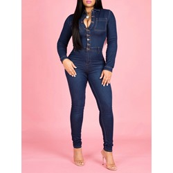 Full Length Plain Slim Button Women's Jumpsuit