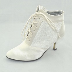 Shoespie Trendy Patchwork Lace-Up Front Round Toe Wedding Boots