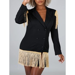 Plain Double-Breasted Long Sleeve Standard Women's Casual Blazer