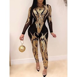 Casual Sequins Full Length Slim Women's Jumpsuit