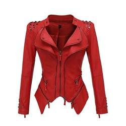 Standard Slim Zipper Women's PU Jacket
