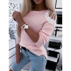 Regular Patchwork Loose Casual Women's Sweater