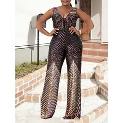 Plus Size Full Length Color Block Casual Slim Women's Jumpsuit