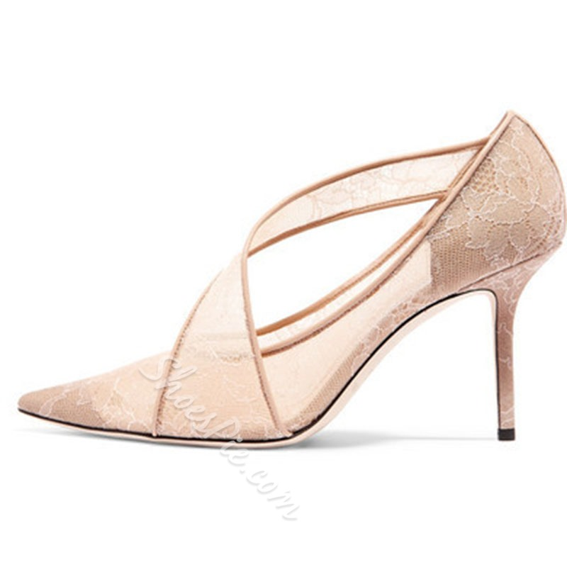 Shoespie Trendy Slip-On Lace Pointed Toe High Heel Thin Shoes