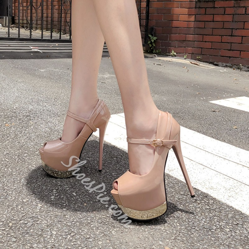 Shoespie Sexy Buckle Peep Toe Platform Plain Thin Shoes