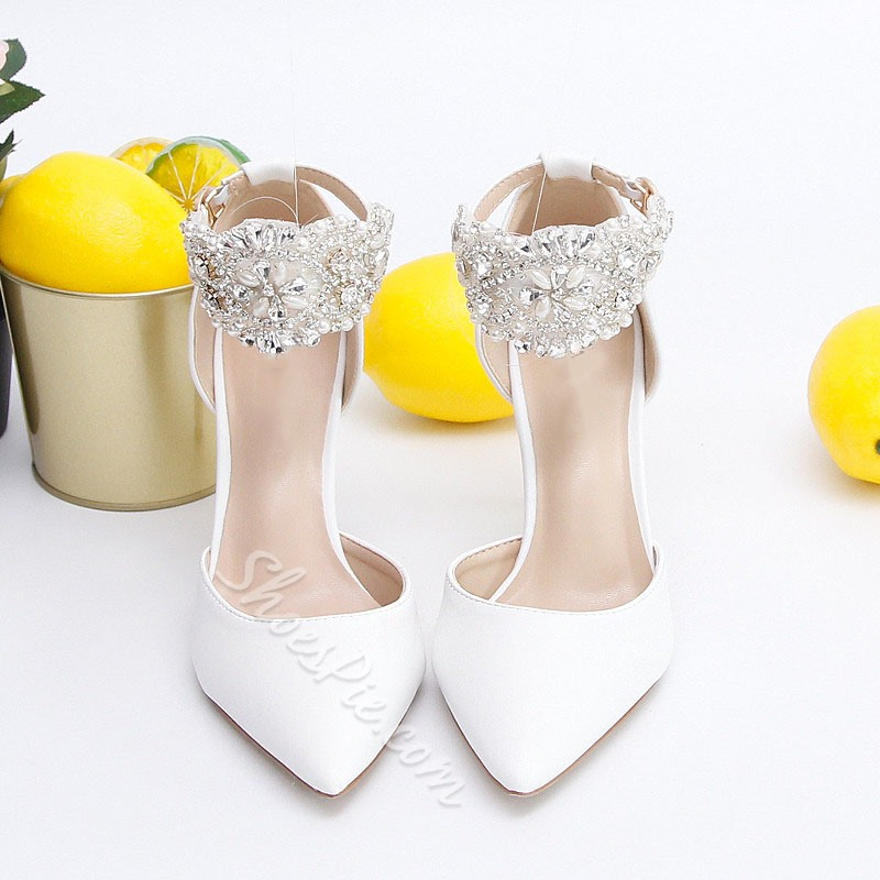 Shoespie Trendy Stiletto Heel Pointed Toe Line-Style Buckle Sweet Thin Shoes