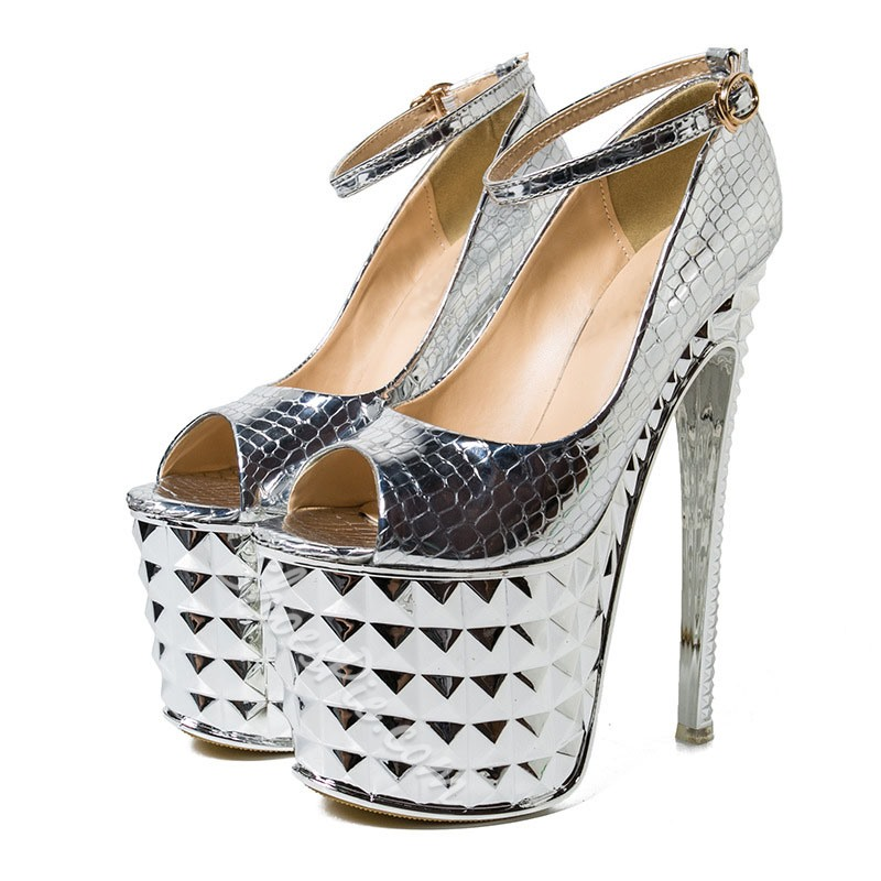 Shoespie Sexy Peep Toe Stiletto Heel Line-Style Buckle Low-Cut Upper Thin Shoes