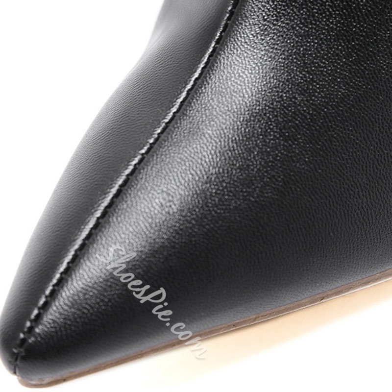 Shoespie Trendy Plain Front Zipper Pointed Toe PU Boots