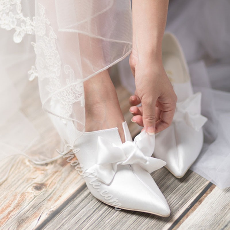 Shoespie Trendy Slip-On Bow Pointed Toe Wedding Thin Shoes