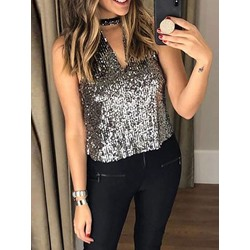 Sequins Polyester Standard Women's Tank Top