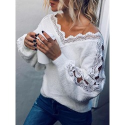 Regular Lantern Sleeve Patchwork Long Sleeve Women's Sweater