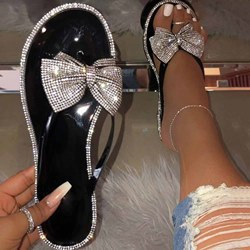 Shoespie Trendy Thong Slip-On Bow PVC Slippers