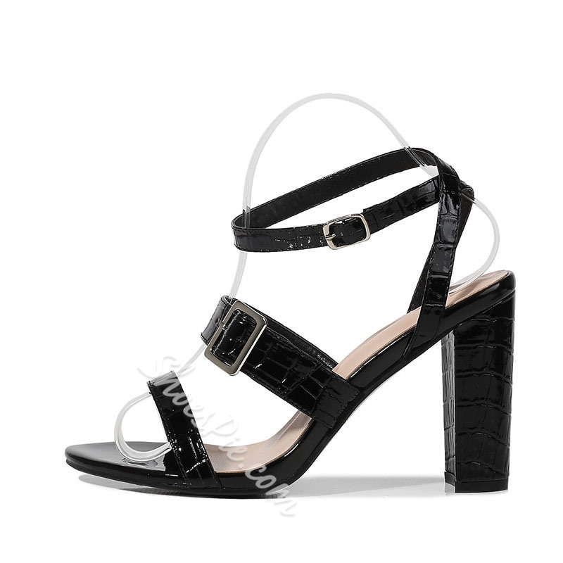 Shoespie Sexy Ankle Strap Chunky Heel Line-Style Buckle Buckle Sandals