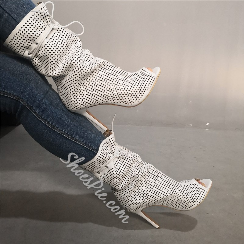 Shoespie Peep Toe Stiletto Heel Hollow Lace Up Ankle Boots