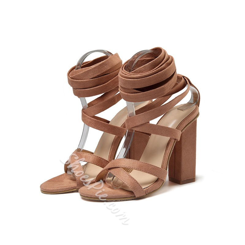 Shoespie Sexy Open Toe Chunky Heel Ankle Strap Casual Sandals
