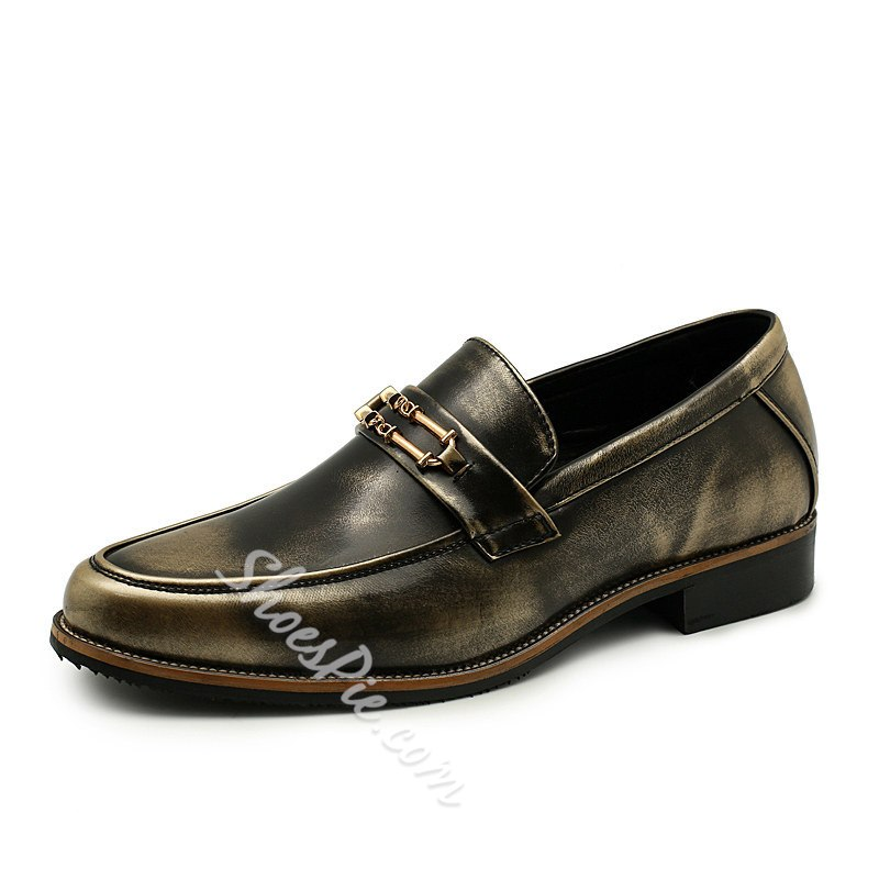 Shoespie Men's Color Block Low-Cut Upper PU Leather Oxfords