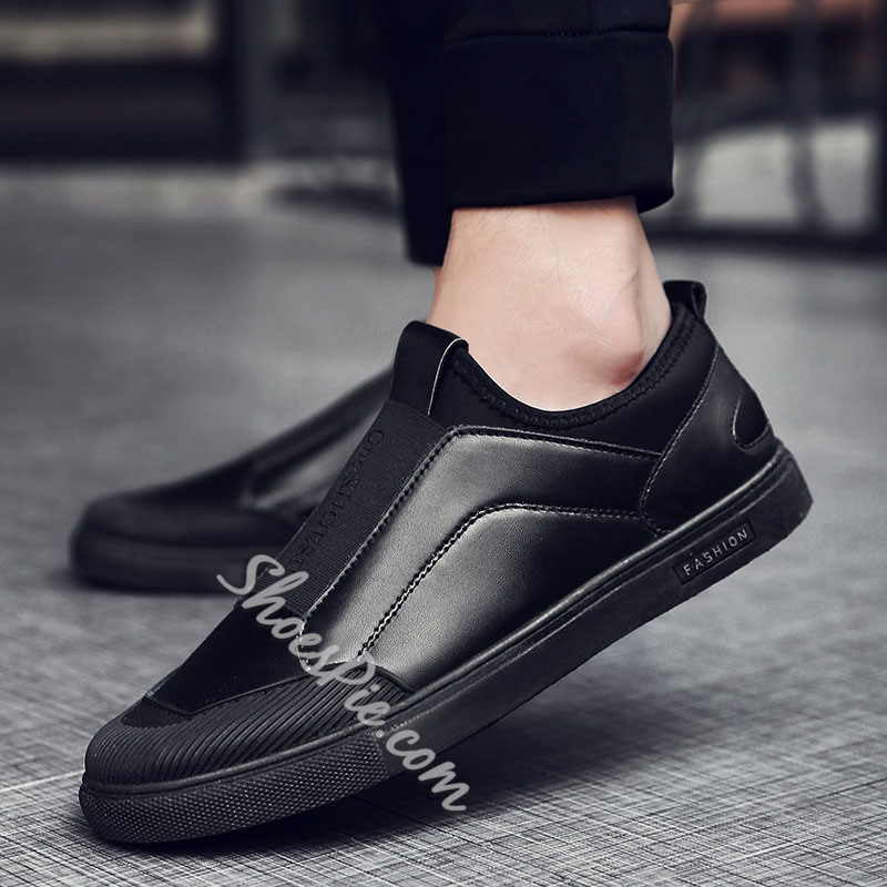 Shoespie Low-Cut Upper Slip-On Color Block Round Toe Skate Shoes