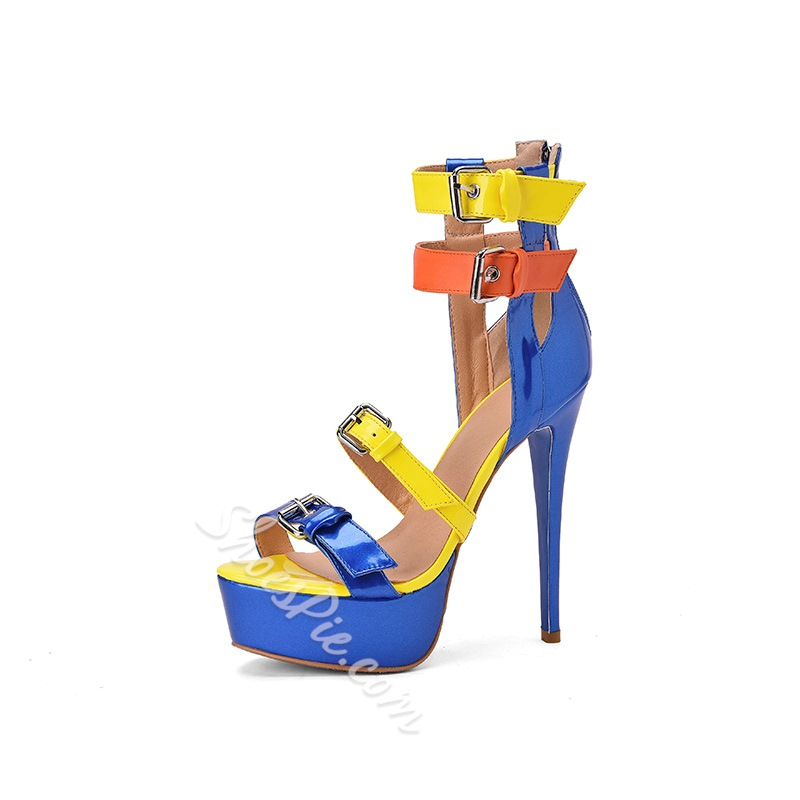 Shoespie Trendy Buckle Open Toe PU Platform Sandals