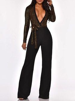 Casual Full Length Slim Lace-Up Party Women's Jumpsuit