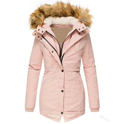 Slim Patchwork Zipper Mid-Length Women's Cotton Padded Jacket