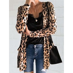 Leopard Mid-Length Casual Women's Trench Coat