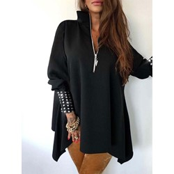 Casual Black Mid-Length Loose zipper Women's Hoodie