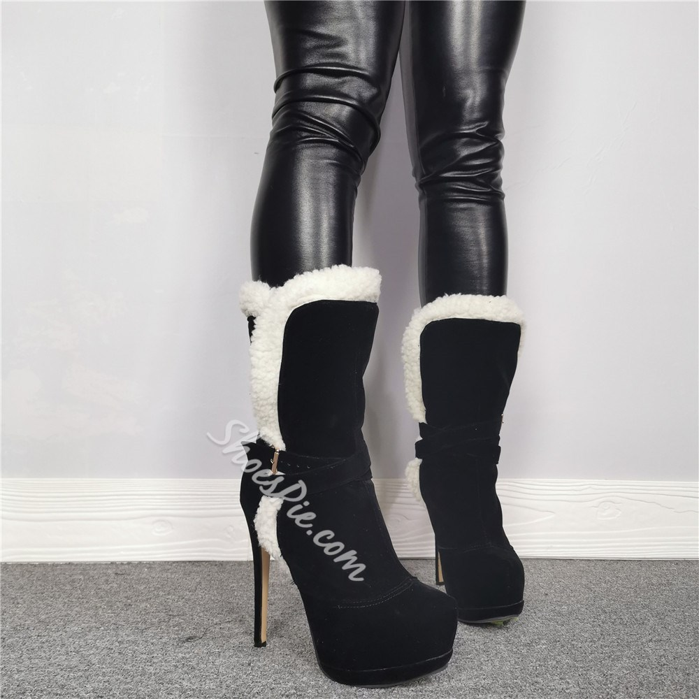 Shoespie Sexy Round Toe Slip-On Platform Heel Boots
