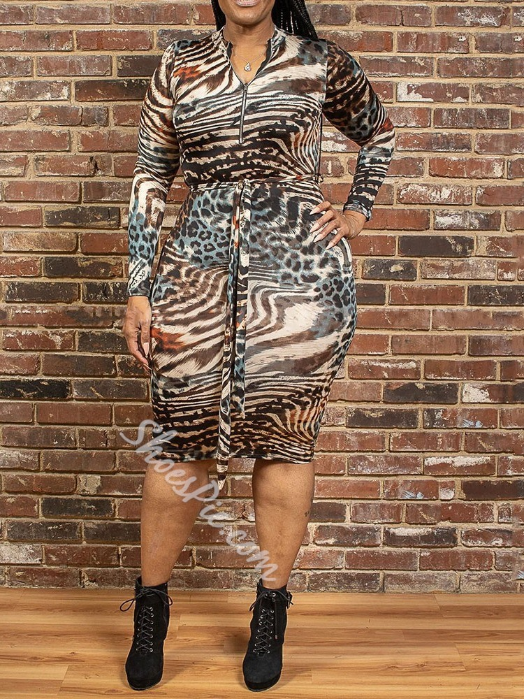 Stylish Leopard Print Plus Size Long Sleeve Bodycon Women's Dress