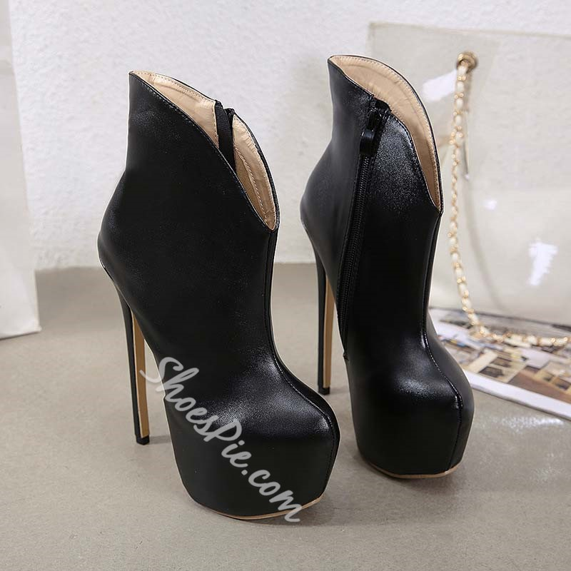 Shoespie Trendy Plain Stiletto Heel Side Zipper Western Boots