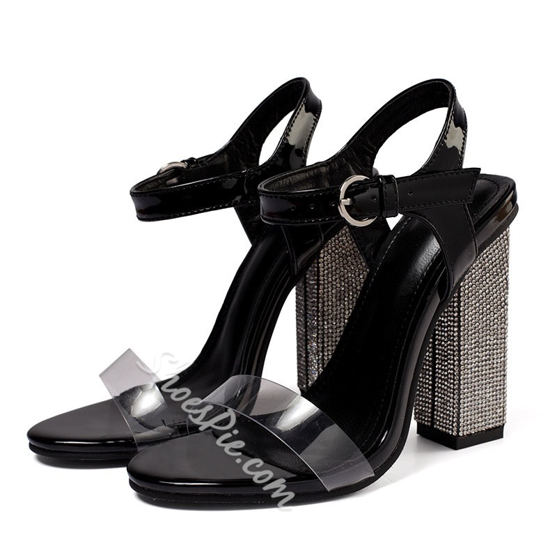 Shoespie Sexy Ankle Strap Chunky Heel Toe Ring Buckle Sandals