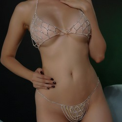 Diamante European Female Body Chain Bikini