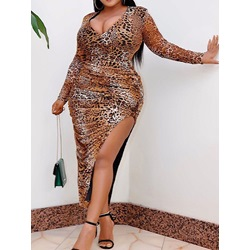Plus Size Mid-Calf V-Neck Long Sleeve High Waist Women's Dress