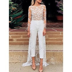 See-Through Sweet Ankle Length Slim Women's Jumpsuit