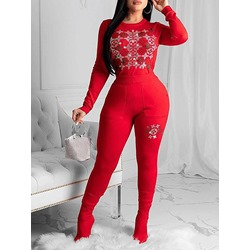 Fashion Diamond Red Round Neck Women's Two Piece Sets