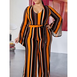 Plus Size Stripe Full Length Lace-Up Straight Women's Jumpsuit