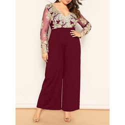 Full Length Embroidery Floral Loose Women's Jumpsuit