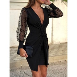 V-Neck Long Sleeve Above Knee Fall Women's Dress