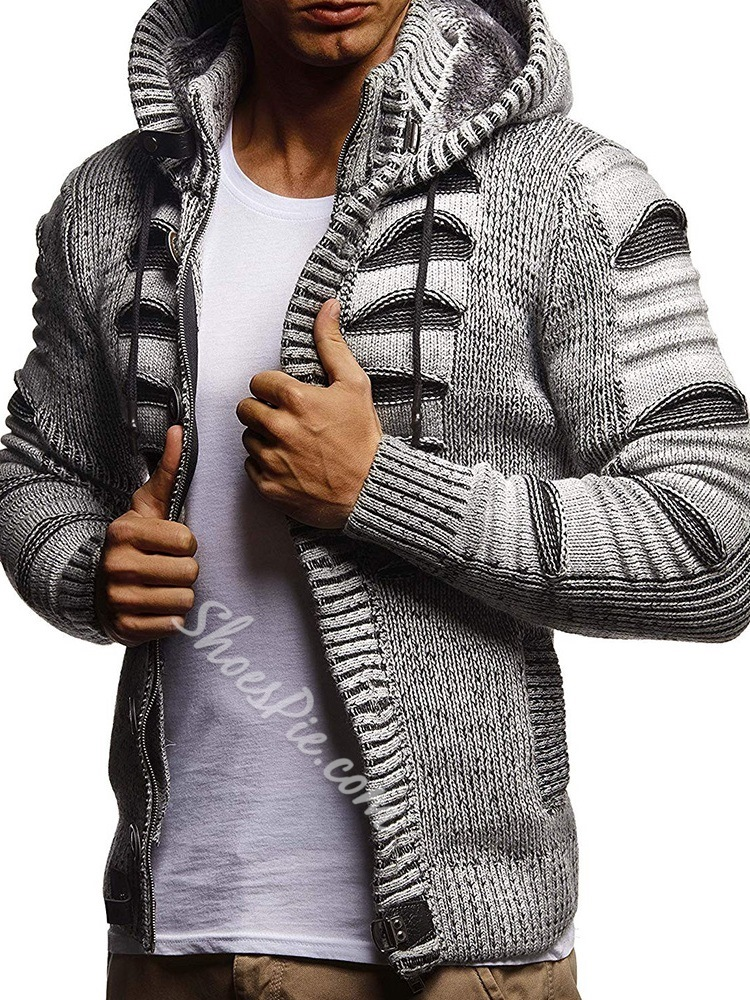 Standard Zipper Hooded Slim Zipper Sweater