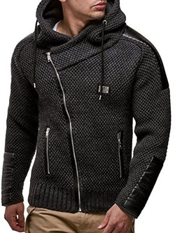 Plain Zipper Standard Casual Slim Sweater