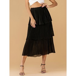 Plain Cupcake Mid-Calf Casual Women's Skirt