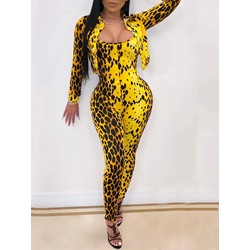 Yellow Leopard Casual Jumpsuit Pencil Pants Women's Two Piece Sets