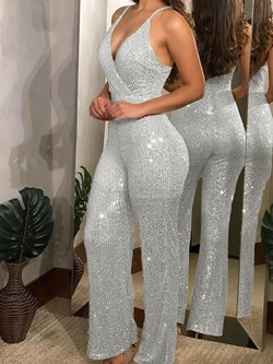 Sequins Plain Casual Slim Women's Jumpsuit