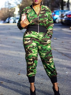 Casual Camouflage Coat Pencil Pants Women's Two Piece Sets