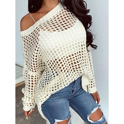 Sexy White Hollow Loose Long Sleeve Women's Sweater