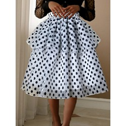 Ball Gown Mesh Mid-Calf Casual Women's Skirt