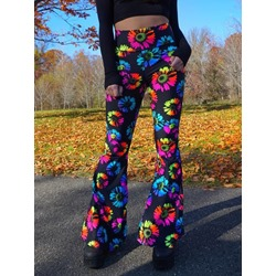 Cute Colorful Plant Slim Full Length Women's Casual Pants
