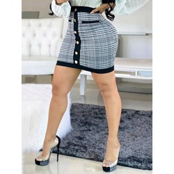 Button Bodycon Mini Skirt Casual Women's Skirt