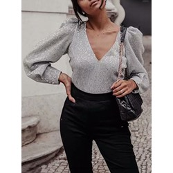 Ladylike Gray Puff Sleeve V-Neck Women's Blouse