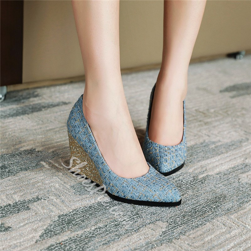 Shoespie Stylish Pointed Toe Wedge Heel Slip-On 8.5cm Thin Shoes
